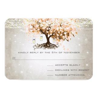 Peachy Pink Heart Leaf Wedding RSVP Card