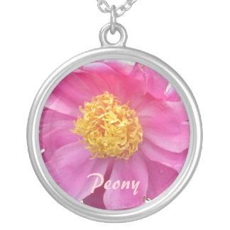 Peachy Pink Peony Round Pendant Necklace