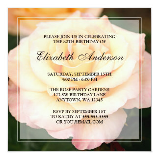 Peachy Pink Rose Flower 80th Birthday Party Invitation