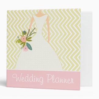 Peachy Pink Rose Zig Zag Wedding Planner Binder