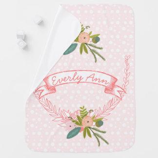 Peachy Pink Vintage Garland Lil' Lady Floral Receiving Blanket