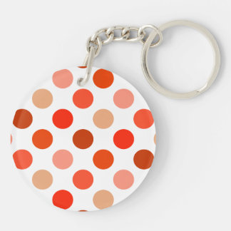 Peachy Polka Dot Pattern Double-Sided Round Acrylic Keychain