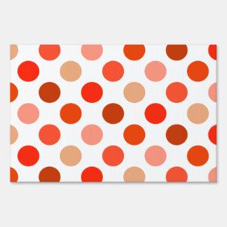 Peachy Polka Dot Pattern Lawn Sign