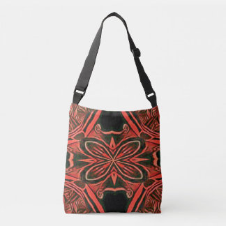 Peachy Rose Abstract Centered Butterfly Crossbody Bag