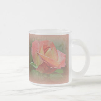 Peachy Rose Blossom Frosted Glass Coffee Mug