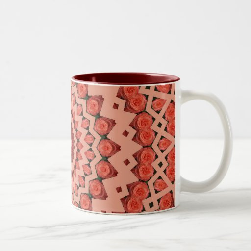 Peachy rose fractal design Two-Tone coffee mug
