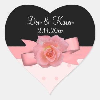 Peachy Rose Polka Dots Wedding Heart Sticker