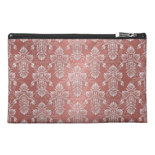Peachy Salmon Pink Girly Damask Travel Accessories Bag