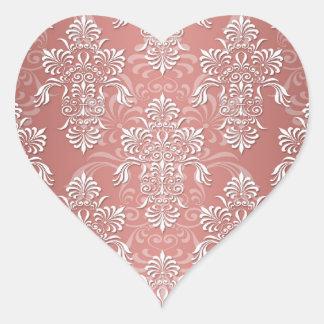 Peachy Salmon Pink Girly Damask Heart Sticker