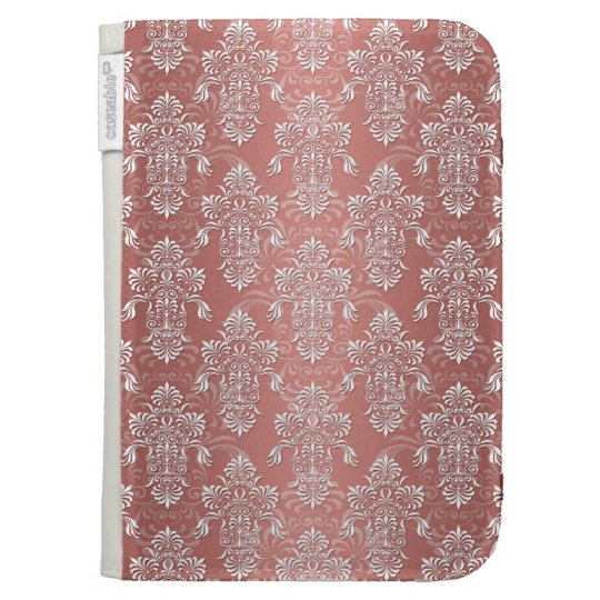 Peachy Salmon Pink Girly Damask Kindle Cover
