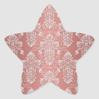 Peachy Salmon Pink Girly Damask Stickers