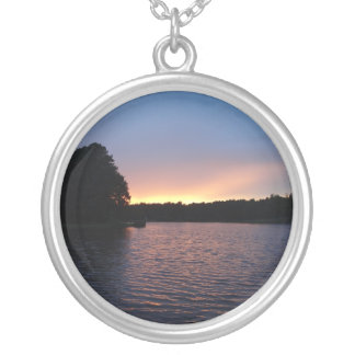 Peachy Sunset over Lake Swan, Georgia Round Pendant Necklace