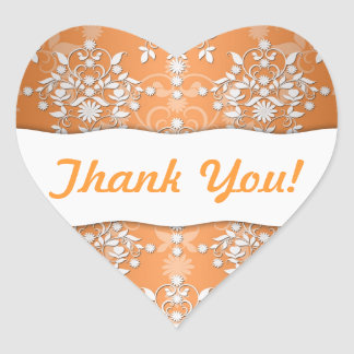 Peachy Tangerine and White Floral Damask Heart Sticker