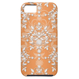 Peachy Tangerine and White Floral Damask iPhone SE/5/5s Case