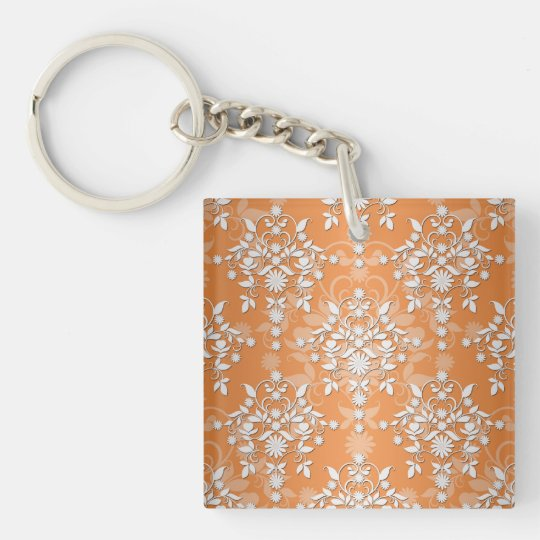 Peachy Tangerine and White Floral Damask Keychain
