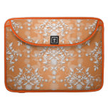 Peachy Tangerine and White Floral Damask Sleeve For MacBook Pro