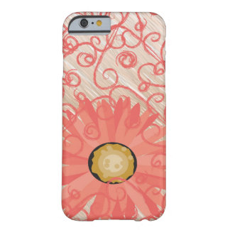 Peachy Vintage Swirls with gerbera daisy iPhone Barely There iPhone 6 Case