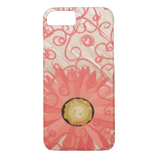 Peachy Vintage Swirls with gerbera daisy iPhone iPhone 8/7 Case