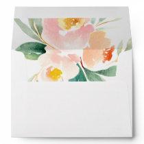 Peachy Watercolor Peonies Rustic Wedding Envelope