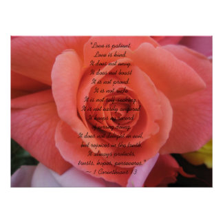 Peachy Wedding Rose Poster