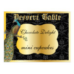 Peackcock Gold Dessert or Candy Buffet Table Sign Postcards