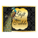 Peackcock Gold Gift Table Sign Post Card