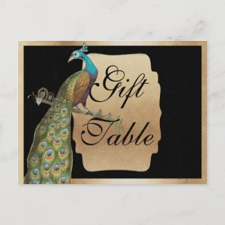 Peackcock Gold Gift Table Sign Post Cards
