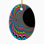 Peackock A Delic - Fractal Art Ceramic Ornament