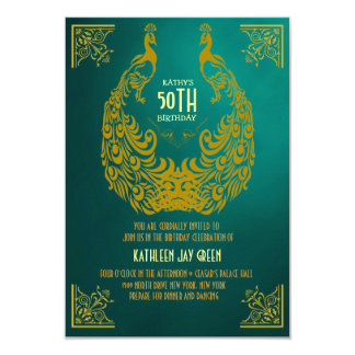 Peacock 1920s Art Deco 50th Birthday Invitation