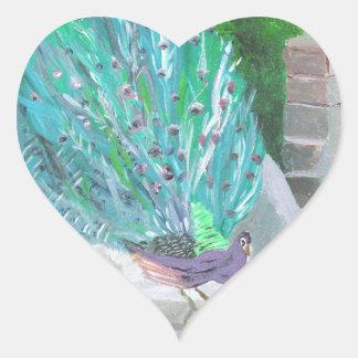 Peacock 2 (Acrylic by Kimberly Turnbull Art) Heart Sticker