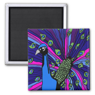 Peacock 2 Inch Square Magnet