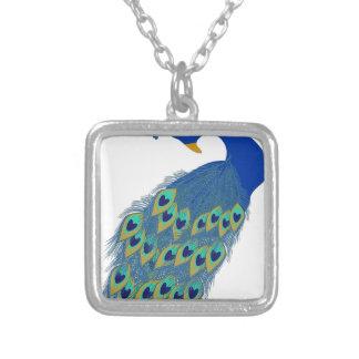 Peacock #3 square pendant necklace