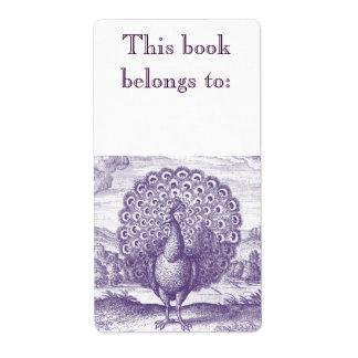 Peacock, a vintage engraving label