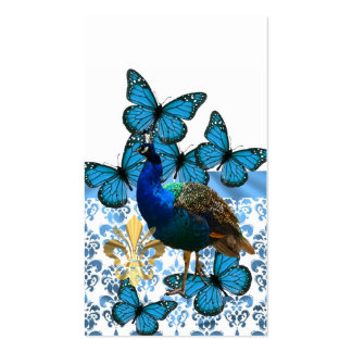 Peacock and blue butterflies Double-Sided standard business cards (Pack of 100)