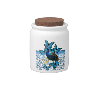 Peacock and blue butterflies candy jar