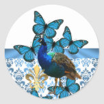 Peacock and blue butterflies classic round sticker