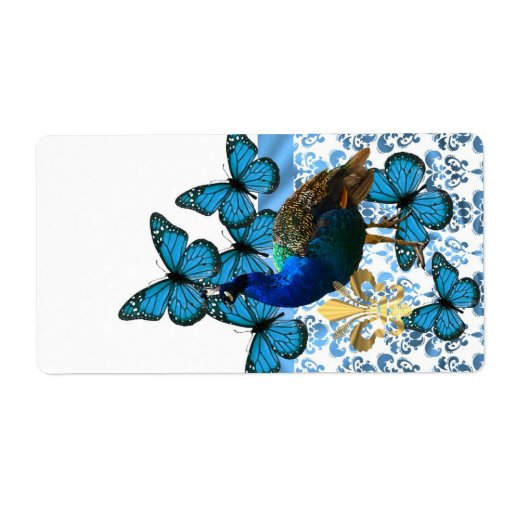 Peacock and blue butterflies shipping label