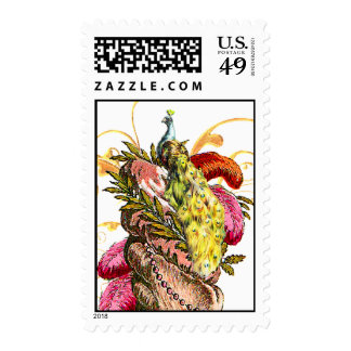 peacock and cake postage stamps