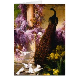 Peacock and Doves in a Garden Card
