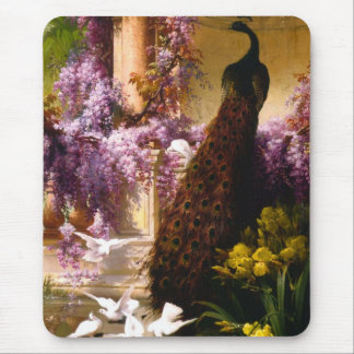 Peacock and Doves in a Garden Mouse Pad