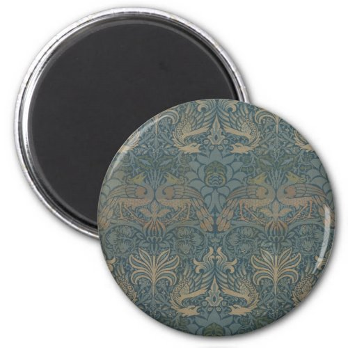 Peacock and Dragon by William Morris Magnet