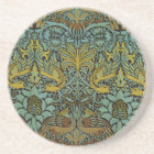 Peacock and Dragon William Morris Tapestry Design Drink Coaster