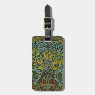 Peacock and Dragon William Morris Tapestry Design Luggage Tag