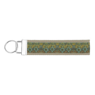 Peacock and Dragon William Morris Tapestry Design Wrist Keychain