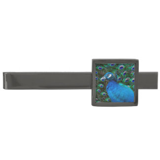 Peacock and Feather Gunmetal Finish Tie Bar