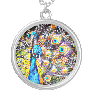 peacock and feathers artistic graphic custom necklace