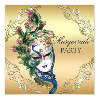 Peacock and Feathers Mask Gold Masquerade Party Invitation