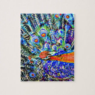 peacock and feathers orange artistic graphic jigsaw puzzle