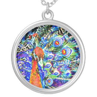 peacock and feathers orange artistic graphic pendants