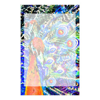 peacock and feathers orange artistic graphic customized stationery